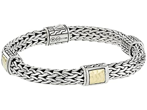John Hardy Classic Chain 7.5mm Hammered Station Bracelet with 18K Yellow Gold