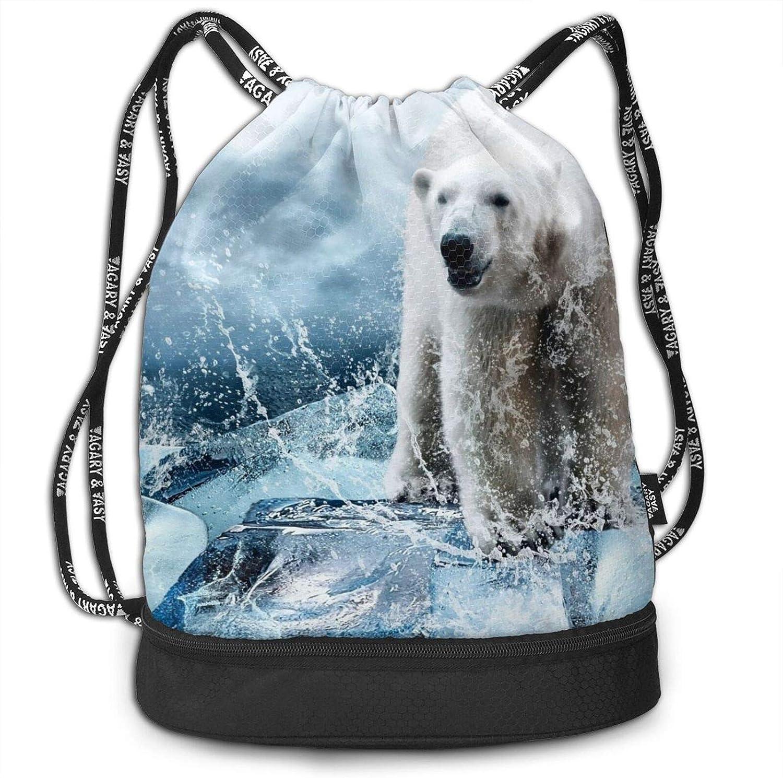 Cool Animal White Polar Bear Printing Jacksonville Mall Drawstring safety Gym Bag Drawstr