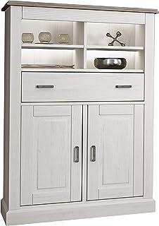 HomeSouth - Bodeguero 2 Puertas + 1 Cajon con Led Mueble Auxiliar para Salon Cocina o Comedor Modelo Irma Acabado en A...