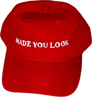 bf7feab0248 Made You Look Red Hat - Satirical Comedy Joke Hat for MAGA