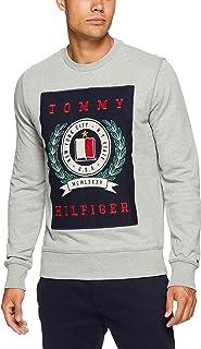 Tommy Hilifiger Men's Crest Sweatshirt, Cloud Heather, X-Small