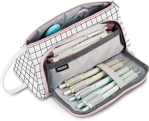 Trousse à Crayons Grande Capacité Porte-crayons à Stylos Trousse à Maquillage Organisateur de Rangement de Fourniture...
