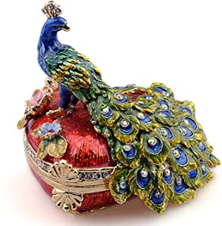 Heart Shaped Peacock Pewter Figurine Trinket Box Crystals Tail Feathers Ring Box