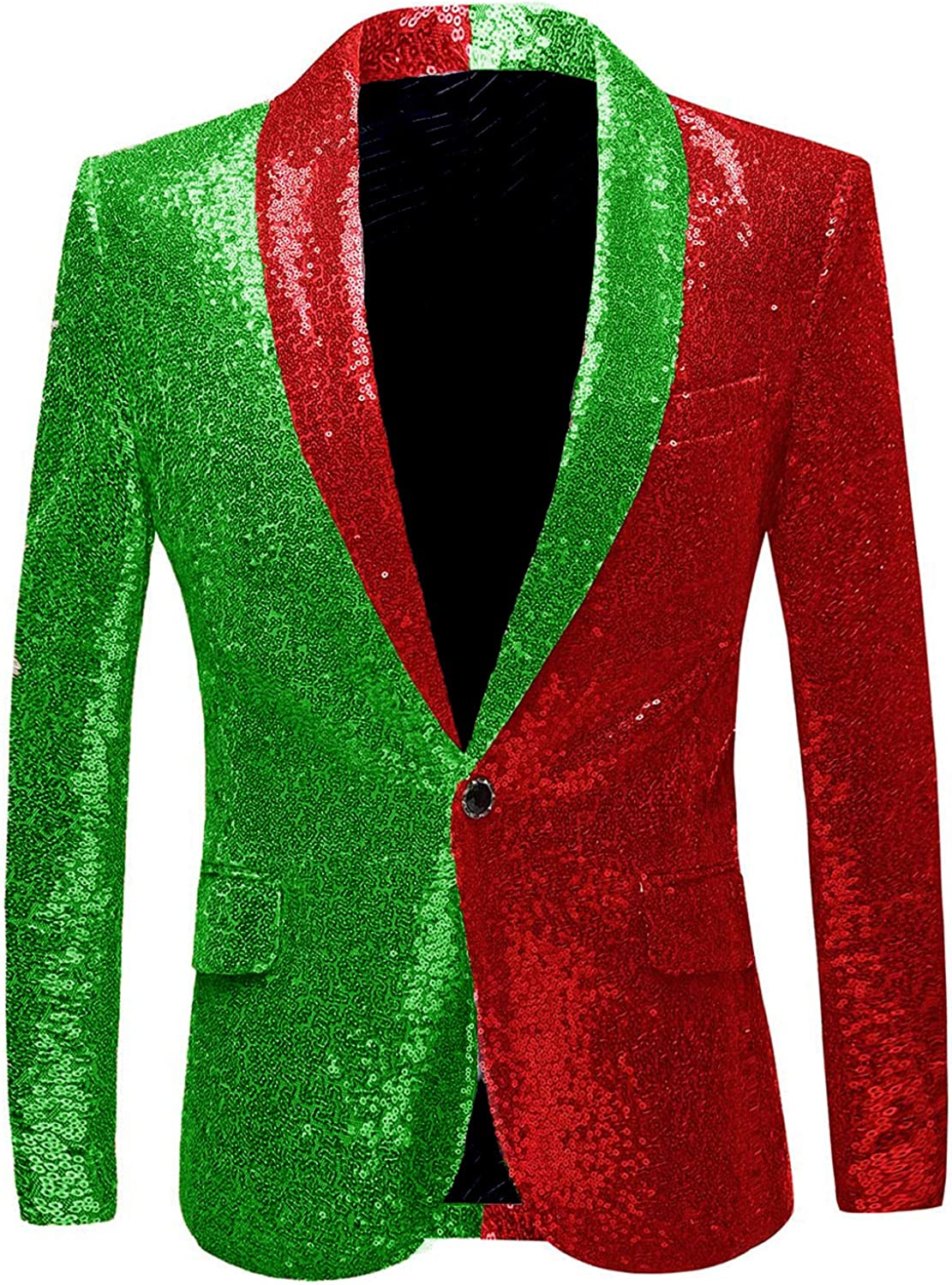 JEXJ Sequin Tuxedo Jacket for Men Two Colors Slim Fit Blazers for Holiday Show Party JJK020