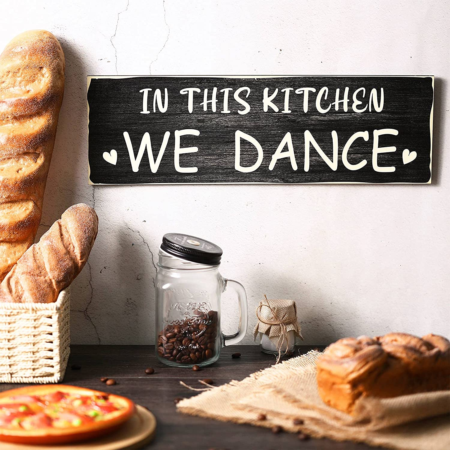in This Kitchen We Dance Wood Sign Farmhouse Rustic Wall Sign Plaque Wooden Hanging Wall Decor Black Funny Kitchen Sign for Home Kitchen Dining Room Restaurant Coffee Shop 15.7 x 5.0 Inches