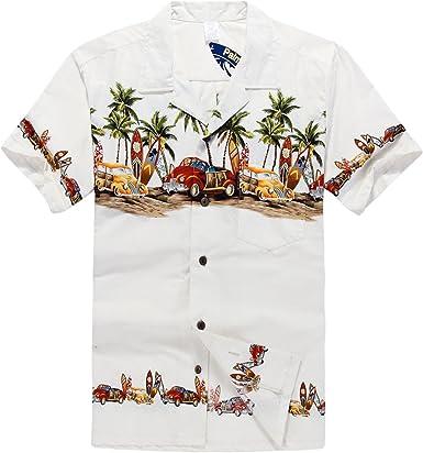 Hombres Aloha camisa hawaiana en Coches antiguos Palmeras Tablas de surf en Blanco
