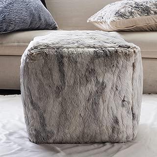 TINA'S HOME Brindle Faux Fur Bean Bag/Comfy Plush Pouf/Luxury Ottoman (16 inches)