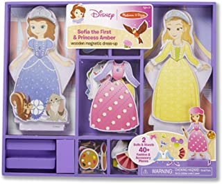 Melissa & Doug Disney Sofia the First and Princess Amber Magnetic Dress-Up Wooden Doll Pretend Play Set (40+ pcs)