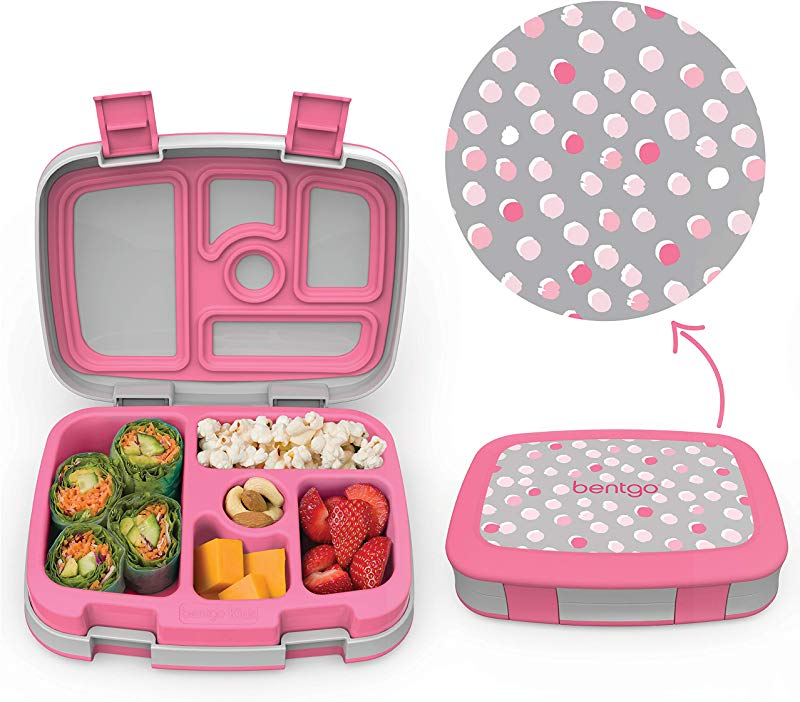 Bentgo Kids Prints Pink Dots Leak Proof 5 Compartment Bento Style Kids Lunch Box Ideal Portion Sizes For Ages 3 To 7 BPA Free And Food Safe Materials