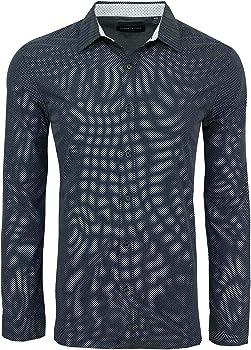 Kenneth Cole Reaction Men's Dotted Square Print L/S Shirt (Black)