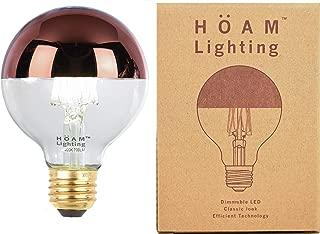 HOAM Lighting Rose Gold Dipped Edison Bulb, Dimmable, 8W LED is 75 Watt Incandescent Equivalent, 4000K Warm White Light, Energy Efficient, 110V 120V E26 E27 Base