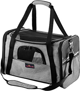Aivituvin Pet Carrier for Dog and Cat,Soft Sided Collapsible Travel Bags for Small or Medium Animal,Grey