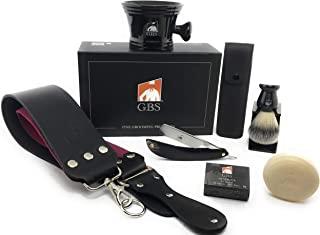 GBS Premium Black Edition Horn Carbon Steel Straight Edge Blade Razor, Leather Case and Strop,Brush, Stand, Ceramic Mug and Soap Ultimate Classic Vintage Beard and Wet Shaving Kit