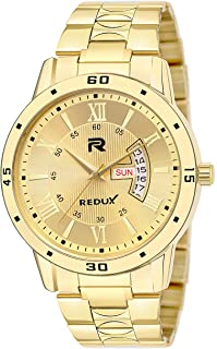 Redux Premium IPG Day & Date Functioning Golden Chain Dial Watch for Men - RWS0272S