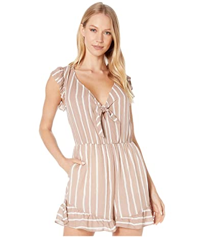 BCBGeneration Knot Front Ruffle Romper TFR9242813 (Taupe) Women
