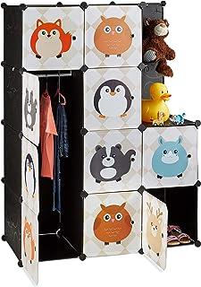 Relaxdays Étagère rangement enfants casier modulable plastique animaux penderie armoire portes tringle, coloré