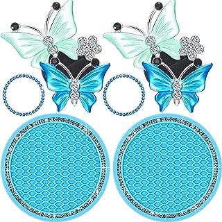 Frienda 6 Pieces Bling Car Decors Bling Car Coasters Car Air Vent Decoration Clips Butterfly Decors Crystal Rhinestone Car...