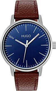 ساعة بسوار جلدي بني اللون ومينا ازرق اللون للرجال من هوغو بوس - طراز 1530076