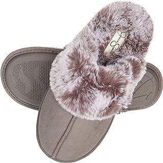 Women's Comfy Faux Fur House Slipper Scuff Memory Foam Slip on Anti-skid Sole
