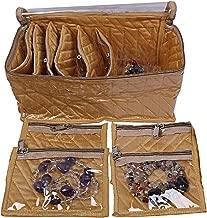 Kuber Industries Silk 1 Piece 10 Pouch Jewellery Kit (Gold) -CTKTC06885