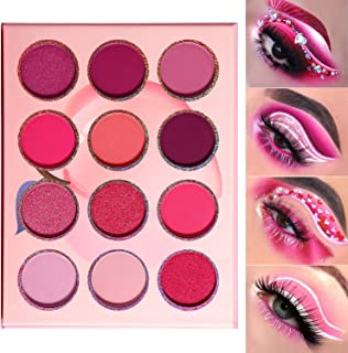 Pink Purple Eyeshadow Palette Makeup 12 Colors, DE'LANCI Pigmented Matte Shimmer Cute Eye Shadow Tone,Small Bright Peach Red Violet Eyeshadow Pallet Long Lasting Shades,For Girl Women Summer Travel
