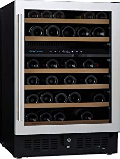 N'FINITY PRO S by Wine Enthusiast – 46 Bottle Dual Zone Built-In or Free-Standing Wine Fridge, Stainless Steel