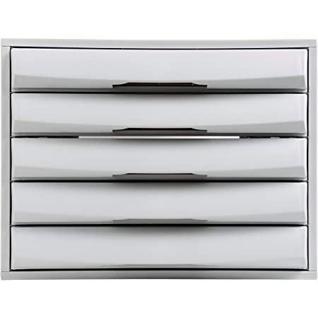 Exacompta - Réf. 222040D - THE BOX - Caisson 5 tiroirs fermés pour document A4+ - Dimensions extérieures : Profondeur 38,70 x largeur 28,4 x Hauteur 21,8 cm - Gris lumière