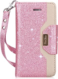 iPhone SE / 5S Case Cover, ProCase Wallet Flip Case, with Wristlet Strap, Build-in Card Slots and Mirror, Stylish Slim Stand Cover for Apple iPhone SE / 5S (Glitterpink)