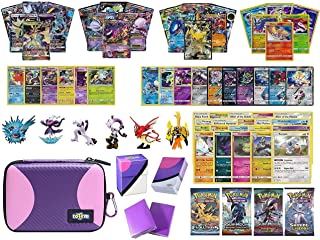 Totem World Pokemon Premium Collection 100 Cards with GX Mega EX Shining Holo 10 Rares 4 Booster Pack - 100 Sleeves - Master Ball Theme Card Case - Deck Box and Figure