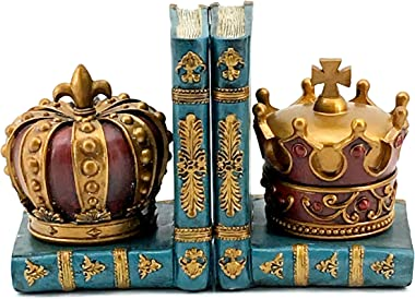 Bellaa 24254 Chess Style Decorative King Queen Golden Royal Crown 6 Inch Design Art Bookshelf Heavy Duty Bookend Set Decor Of