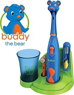 Brusheez Kid's Electric Toothbrush Set - Buddy the Bear - Includes Battery-Powered Toothbrush, 2 Brush Heads, Cute Animal Cover, Sand Timer, Rinse Cup & Storage Base