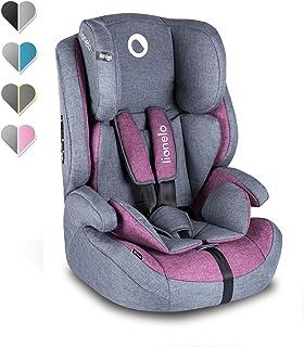 Lionelo Nico Kindersitz 9-36kg Kindersitz Auto Gruppe 1 2 3 Seitenschutz 5-Punkt Sicherheitsgurt abnehmbare Rückenlehne regulierbare Kopfstütze ECE R44 04 Violett