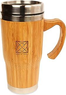 Santai Living Taza Térmica de Bambú (450mL) | Termo de Viaje con Doble Cámara Aislante para Té o Café | Vaso Hermético de Aluminio y madera, libre de BPA