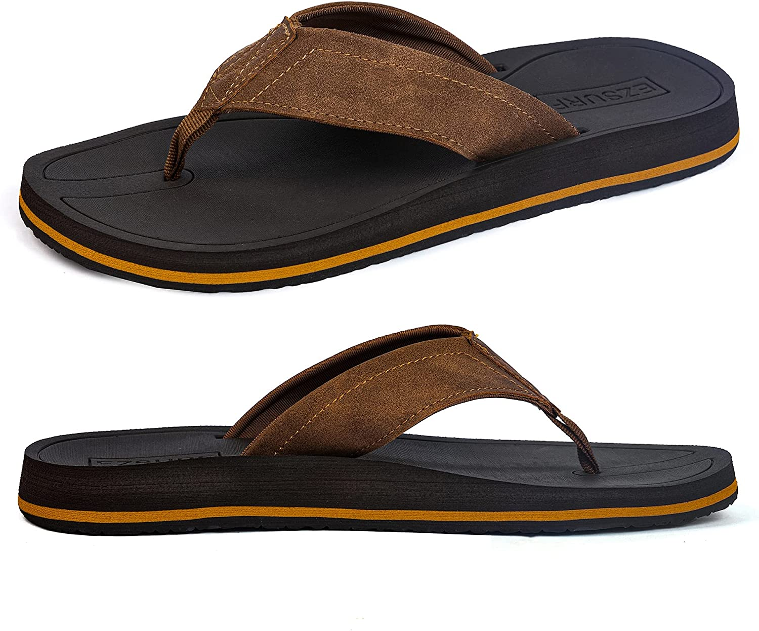 EZSURF Orthotic Thong Sandals for Men with Arch Support,Yoga Mat Flip Flops with Non-Slip Rubber Sole and Retro Leather Straps