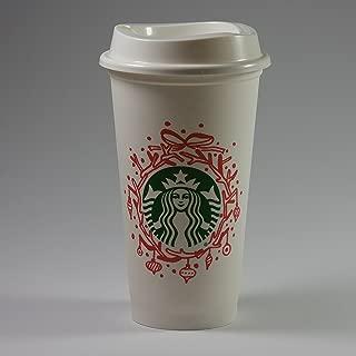 Starbucks Reusable Cup Holiday Wreath Design 2016 (White, 16 Ounce