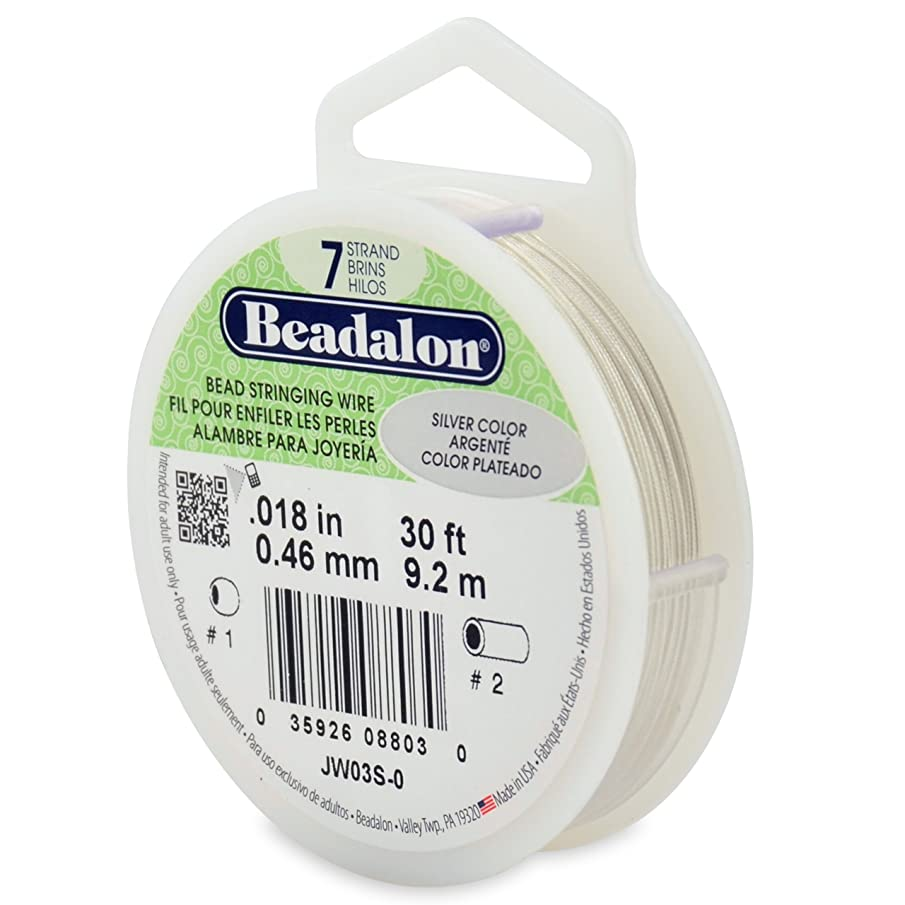 Beadalon 7-Strand Stainless Steel 0.018-Inch Bead Stringing Wire, 30-Feet, Silver Color