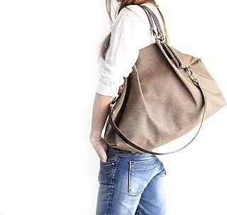 Borsa a spalla, borsa a tracolla, borsa a mano, Borsa in tela e cuoio, tessuto idrorepellente e cuoio italiano, color marr...