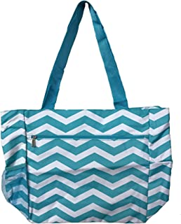 Large Tote Bag | 13.5 Inch Shopping or Beach Bag by Unique Traveler (Chevron Print-Light Blue)