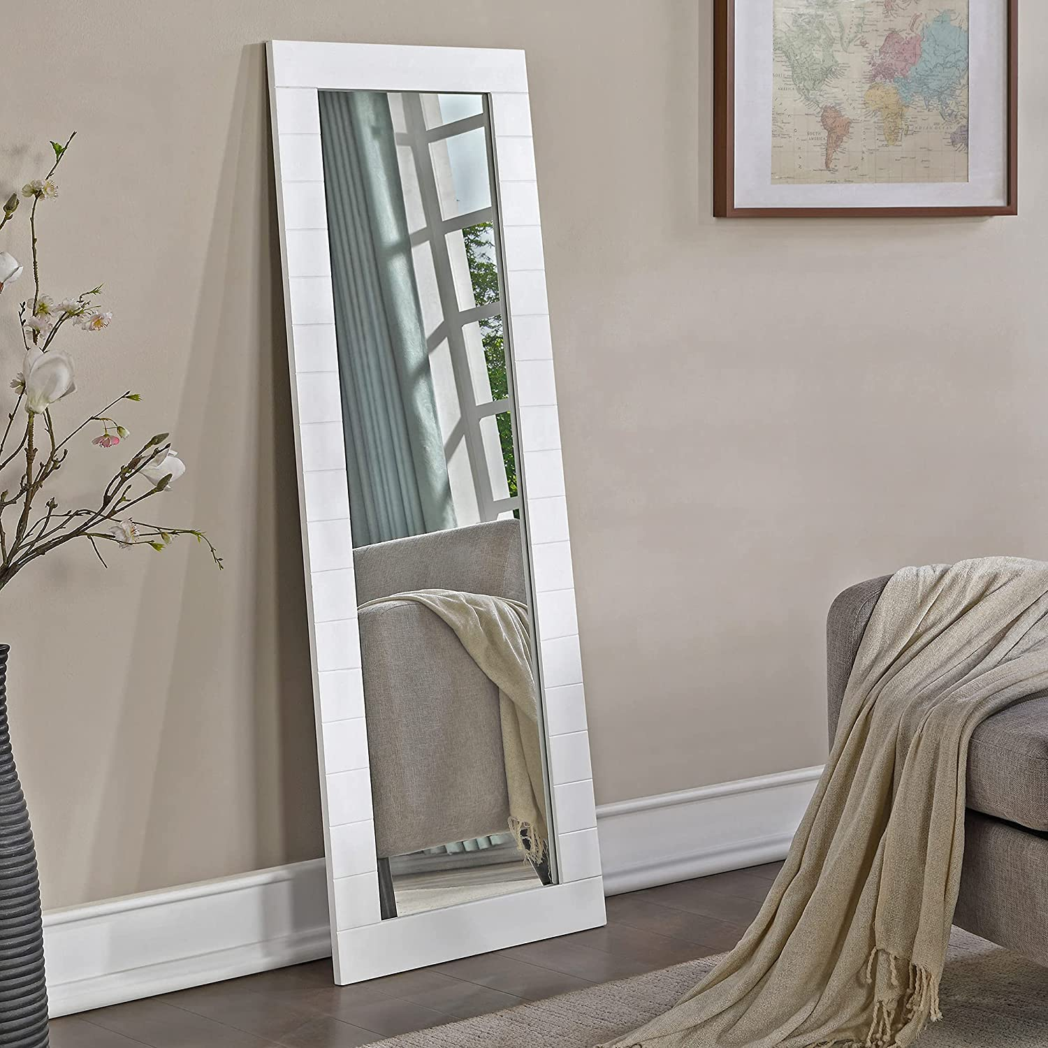 FirsTime Co. White Abigail Shiplap Length Standing Full Financial sales sale Popularity Mirror