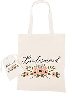 Bridesmaid Gift Set - 1 Cotton Canvas Tote Bag and 1 Drawstring Pouch for Bridesmaids, Gift Bags for Bridal Party, Bridal Shower Favors, Rustic Floral Design