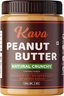 Kava All Natural Peanut Butter (Crunchy) (1kg), Unsweetened, 30g Protein, Non GMO, Gluten Free, Vegan, Cholesterol Free (1kg)