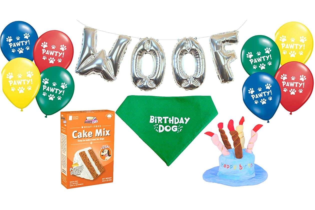 Dog Birthday Party Decorations Kit By Blast In A Box Blue Hat Puppy Cake Mix Cotton Bandana WOOF And Pawty Balloons