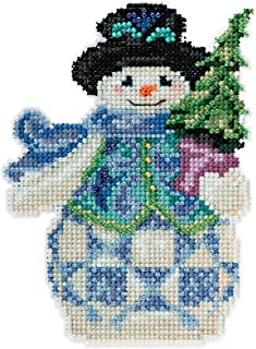 Jim Shore Evergreen Snowman Counted Cross Stitch Kit-5x5 18 Count