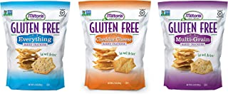 Milton's Gluten Free Baked Crackers, 3 Flavor Variety Bundle. Crispy and Gluten-Free Baked Grain Crackers (Everything, Cheddar, and Multi-Grain, 4.5 ounce).