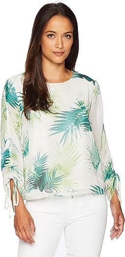Petite Drawstring Sleeve Sunlit Palm Print Blouse