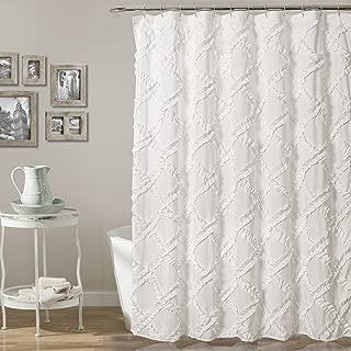 "Lush Decor Ruffle Diamond Shower Curtain | Textured Shabby Chic Farmhouse Style Design, x 72"", White, 72"