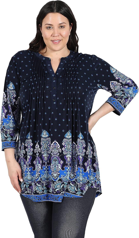 LA CERA Women's Plus Size Printed Tunic Blouse Blue