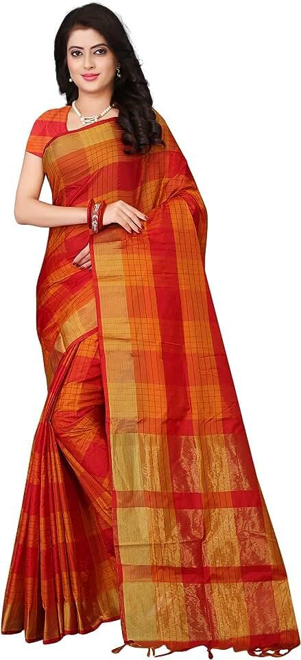 Indian DHRUVI TRENDZ Women's Soft Cotton Silk Saree with Blouse Piece Material Saree