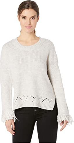 Flick Of The Wrist Drop Needle Sweater with Fringe Trim