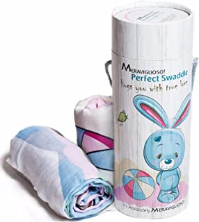 "Muslin Swaddle Blankets Gift Set for Girls, Boys + Bonus Pouch, Unisex Design, Set of 2 Baby Blankets 47""x47"", 100% Cotton, Soft Breathable Swaddling Blanket Nursing Cover, Best Gift for Baby Shower"